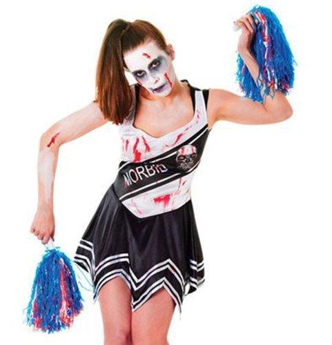 Womens Black Dead Zombie School Cheerleader Fancy Dress Costume UK 10-14 by (Zombie Cheerleader Costume Uk)