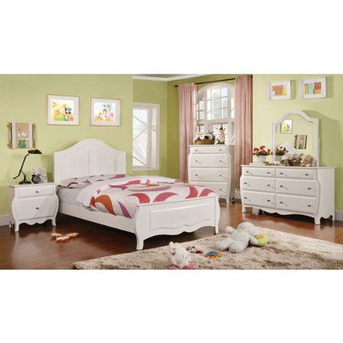 Roxana Cottage Style White Finish 6 Piece Full Size Youth Complete Bedroom Set by 247SHOPATHOME
