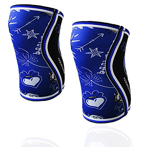 BB BANBROKEN Knieschützer Blau Draw Knie Ärmel 5 mm - Stabilität für die Knie für Crossfit, Gymnastik, Fitness, Gewichtheben, Running. Für Frauen und Männer (2 Einheiten)