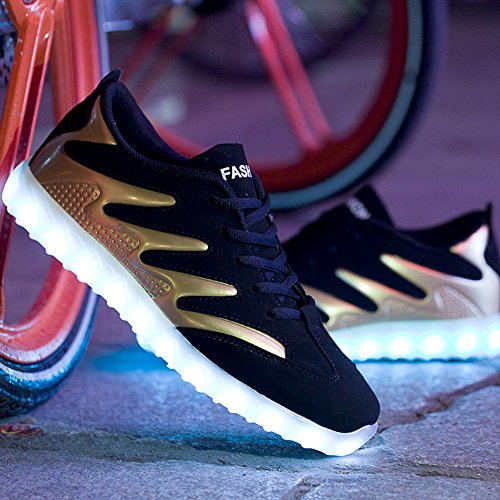 Men's LED with Sneakers Rechargeable Luminous Sneakers Light Sole Golden Black Matari Glowing anwSYtdqaF