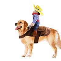 Yu-Xiang Pet Riding Costume Novelty Pet Supplies Cowboy Rider Horse Riding Designed Dog Apparel Party Dressing up Clothing Halloween (XL)