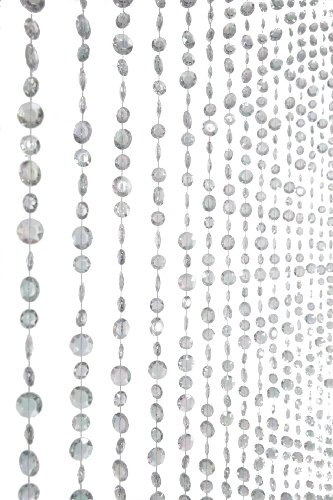 ShopWildThings Diamante Duo Beaded Curtain with Crystal Clear Non Iridescent Large Diamonds, 3 by (Beaded Door Hanging)