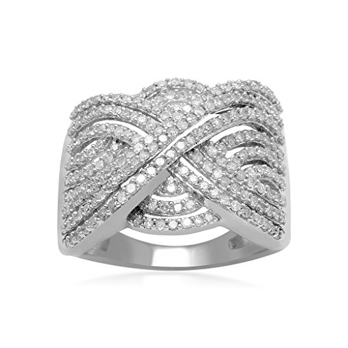 Jewelili Sterling Silver Diamond Crossover Band Ring (1 Cttw), Size 7 ()
