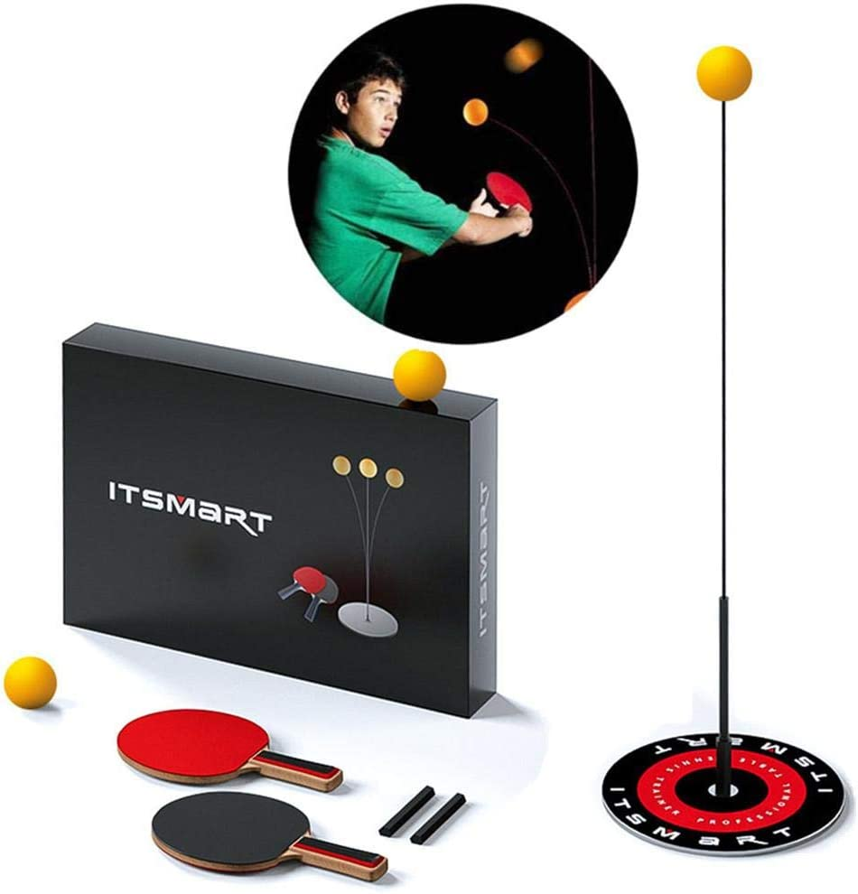 Juego de entrenador de tenis de mesa individual, palos y pelotas de ping pong con eje suave elástico, equipo de entrenamiento de tenis de mesa para niños principiantes, juegos al aire libre interiores