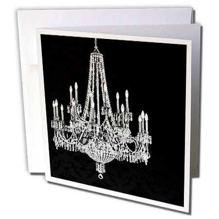 3dRose White Chandelier with Black Damask - Greeting Cards, 6 x 6 inches, set of 6 (gc_164677_1)