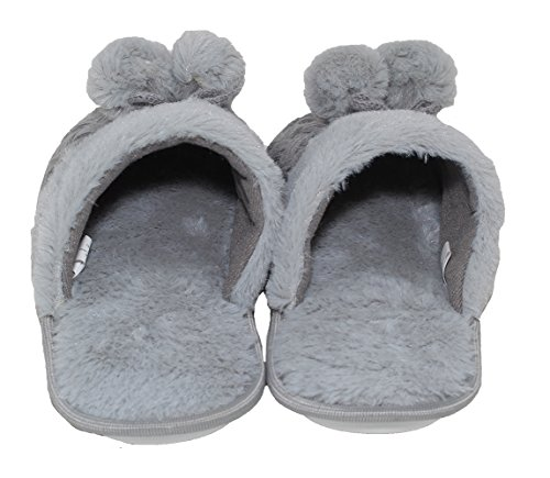Pom Rubber Shoe House Sherpa Two Foam Resistant Slip Padded w Indoor Pom Sole Slippers Outdoor Grey Vittadini Memory Women's Adrienne Comfort zfwOxHqCq