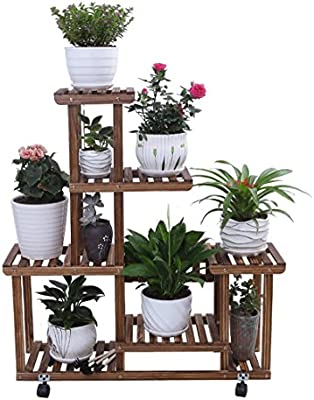 ZENGAI Solid Wood Flower Racks Move The Pulley Indoor Assembly Pots Showcase, 2 Colors Plant Container (Color : 2#, Size : 8525101cm)