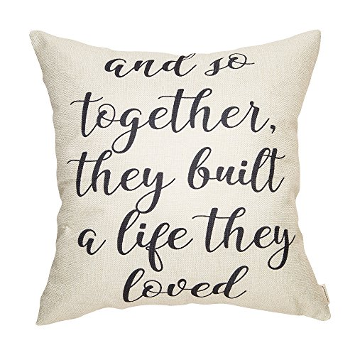 Fahrendom and So Together They Built a Life They Loved Farmhouse Décor Family Decoration Sign Cotton Linen Home Decorative Throw Pillow Case Cushion Cover with Words for Sofa Couch, 18 x 18 in -