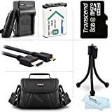 8GB Accessories Kit For Sony HDR-CX240, HDR-PJ275, HDR-AS30V, HDR-AS15, HDR-CX440, HDR-CX405, HDR-PJ440, FDR-X1000V, AS200V Camera Includes 8GB Micro SD Memory Card + Replacement (1600maH) NP-BX1 Battery + AC/DC Charger + Micro HDMI Cable + Case + More