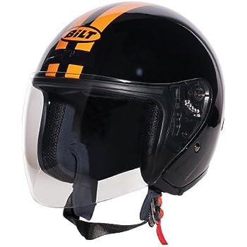 CUSTOM BILT Roadster Retro Open-Face Motorcycle Helmet - XS, Flames Orange