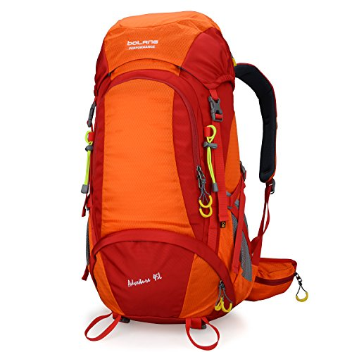 BOLANG Internal Frame Pack Hiking Daypack Outdoor Waterproof Travel Backpacks 8298 (Orange, 45l)