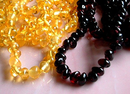 Lot of 10 Natural Baroque Baltic Amber Baby Teething Necklace DARK and LEMON Safety Knotted by Ambermilana by AMBERMILANA (Image #4)