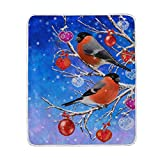 My Little Nest Warm Throw Blanket Birds Red Balls Hearts Lightweight Microfiber Soft Blanket Everyday Use for Bed Couch Sofa 50'' x 60''