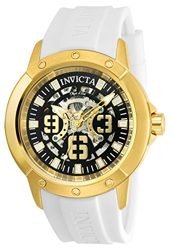 Amazon.com: Invicta Mens Objet dArt Automatic Stainless Steel and Silicone Casual Watch, Color:White (Model: 22630): Watches