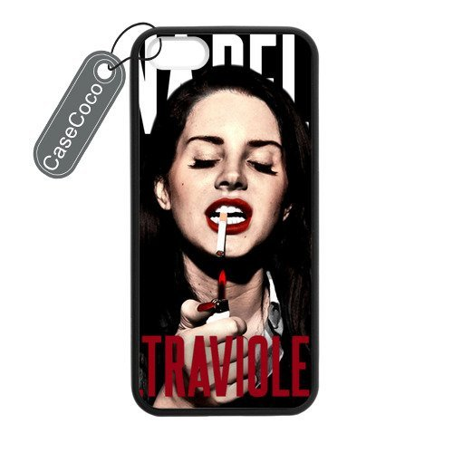 CASECOCO(TM) Favorite Singer Lana Del Rey iPhone 5 5s Case- Protective Hard Back / Black Rubber Sides Case for iPhone 5 5s