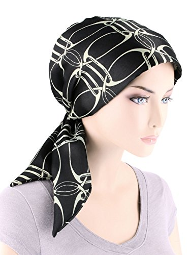 Ivory Chain (Chemo Fashion Scarf Easy Tie Turban Hat Headwear For Cancer Black Ivory Chain)