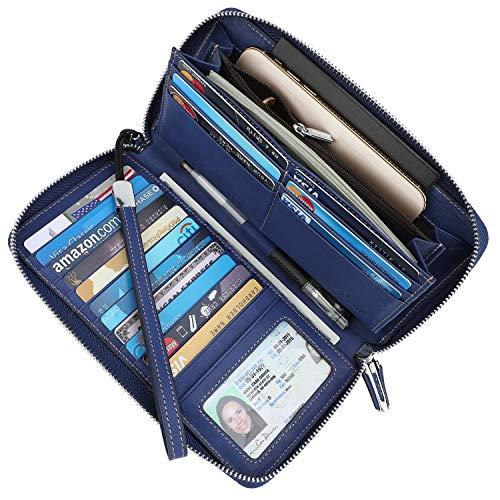 (Lavemi Women's RFID Blocking Real Leather Zip Around Wallet Clutch Large Travel Purse Wristlet(Large Size Vintage Blue))