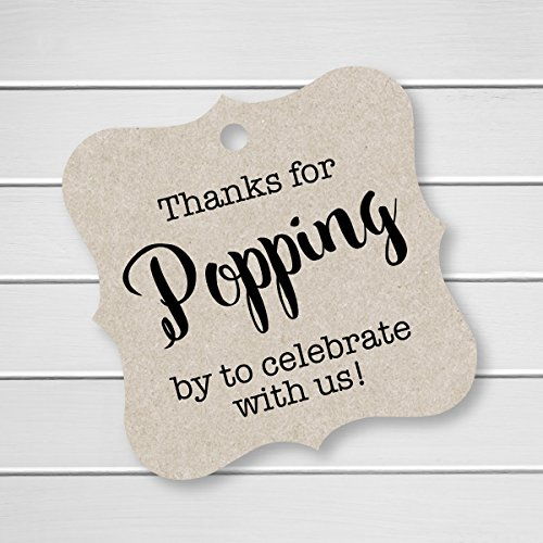 Thanks For Popping By Tags, Baby Shower Popcorn Tags, Wedding Popcorn Favor Tags (FS-370-KR)