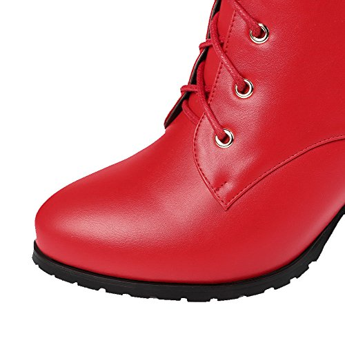 Low Round Closed Red Women's Lace Allhqfashion Kitten top Material Toe Heels Soft up Boots 1xXv1wYq