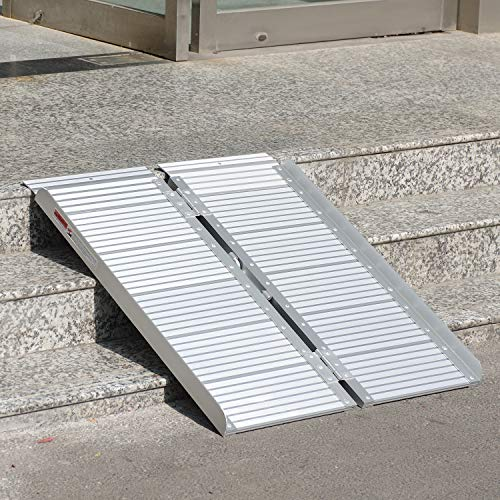- ORFORD Threshold Ramp 3ft for Home Steps Stairs Doorways Scooter, Utility Mobility Access Non Skid Folding Wheelchair Ramp, Portable Aluminum Foldable Wheelchair Ramp 3ft