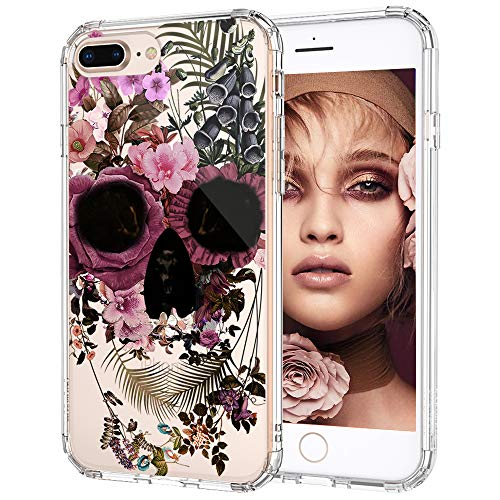 iPhone 7 Plus Case, iPhone 8 Plus Cover, MOSNOVO Floral Skull Flower Pattern Clear Design Printed Plastic Hard Cover with TPU Bumper Protective Case for iPhone 7 Plus (2016) / iPhone 8 Plus (2017)