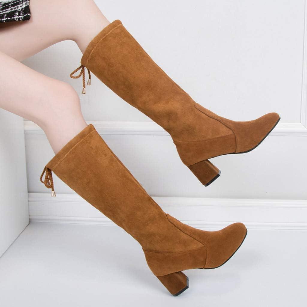 Zapatos Botas De Mujer Color SóLido Tacones Gruesos Tacones Altos Sin Cremallera Botas Altas De OtoñO E Invierno Moda Femenina para Mujer Deslizamiento SóLido Informal: Amazon.es: Ropa y accesorios