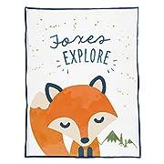 Mermaid Pillow Co EXPLORE Fox Blanket Inspiring and Motivational Kids Plush Throw Velvet Children's Blanket 48 x 60
