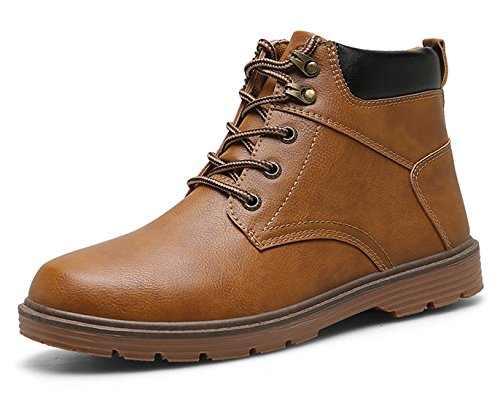 Mens Chukka Boots Leather Waterproof Warm Winter Shoes Anti-Slip Ankle Outdoor Work Hiking Boot