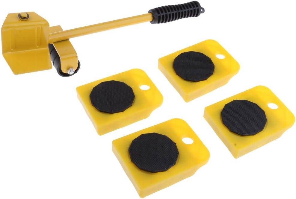 Amarillo 5pcs Juego de Herramienta de Mover de Muebles Pesados Electrodom/ésticos Grandes con Rapidez y Facilidad con Deslizadores de Muebles Rodillos Levantadores de Deslizamiento de SuperSliders