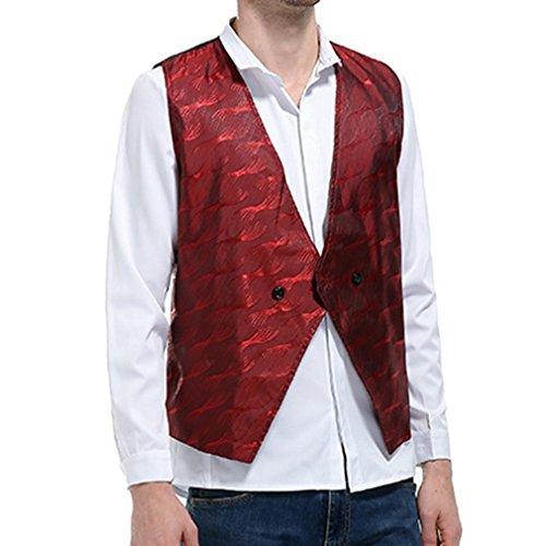 La Casual Hombres Negocio Chaleco Rojo Traje Clásico Formal Fit Hibote Del Vino Nuevos Llegada Vestido Cadena Slim De pqWZxt