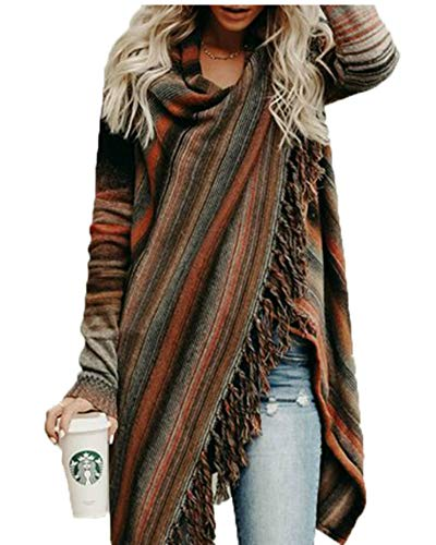 Women's Casual Tassel Cardigan Cowl Neck Slash Sweaters Asymmetric Hem Wrap Poncho Coat Outwear Brown