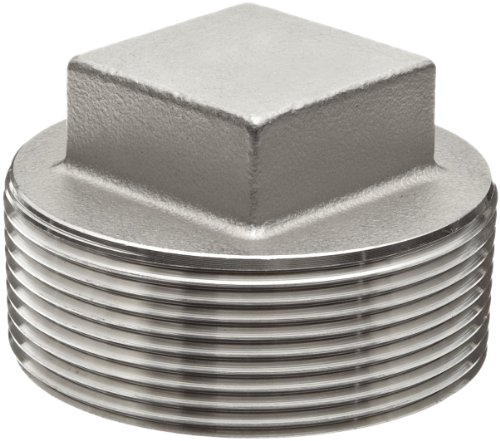 Stainless Steel 304 Cast Pipe Fitting, Square Head Cored Plug, Class 150, 1/2 NPT Male