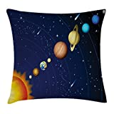 Ambesonne Space Throw Pillow Cushion Cover, Solar System with Sun Uranus Venus Jupiter Mars Pluto Saturn Neptune Image, Decorative Square Accent Pillow Case, 24 X 24 Inches, Dark Blue Orange