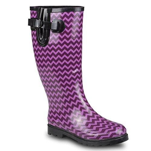 Twisted Women's DRIZZY Tall Cute Rubber Rain Boots - PINK/BLACK, Size 8 (Umbrella Rain Boots compare prices)