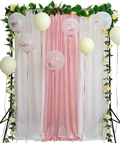 - Pink Sequin Backdrop Photography 8.8ftx8ft Photo Booth Bridal Party White Chiffon Backdrop Stage Wall Decoration Background