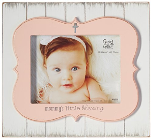 Enesco Grow in Grace by Gregg Gift Little Blessing Baby Rustic White and Pink Photo Frame, 4x6
