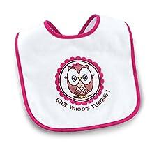 1st Birthday Owl Party Look Whoo's 1 Pink Bib