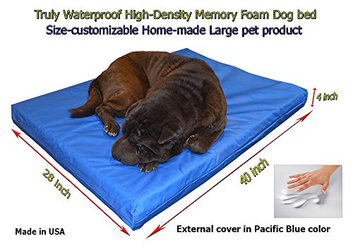 Cheap Home-made Truly Waterproof Customizable 40″x28″x4″ Memory Foam Premium Pacific Blue Dog Bed