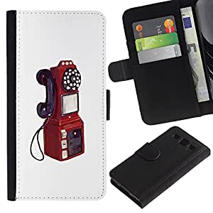 ARTCO Cases - Samsung Galaxy S3 III I9300 - Retro Vintage Telephone Booth Painting - Cuero PU Delgado caso Billetera cubierta Shell Armor Funda Case Cover Wallet Credit Card