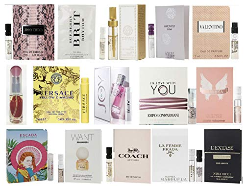 Designer Fragrance Samples for Women - Sampler Lot x 15 Perfume Vials (Designer Perfumes For Women)