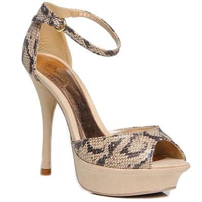 10516726d0b Qupid AJA-01 Women s Snake Print Platform Sandals (6.5