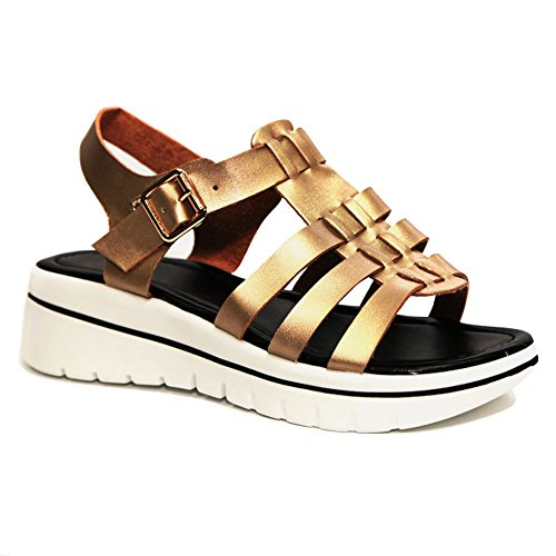 Sale Bronze Strappy Leather Open Toe Slingback Buckle Mini Wedge Rubber Platform Heel Slide On Fashion Ver Zapatos Escolares De Mujer Sandal Shoe Graduation Gift Idea for Women Girl (Size 6, Bronze) - Leather Open Toe Slingbacks