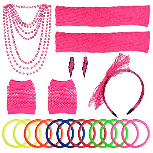 PAXCOO Women's 80s Outfit Costume Accessories Set Neon Headband Earrings Fishnet Gloves Leg Warmers Necklace Bracelet