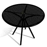 American Tables & Seating AB36 Outdoor Round Table, Fine Mesh Top, Umbrella Hole, 36'' Width, Black
