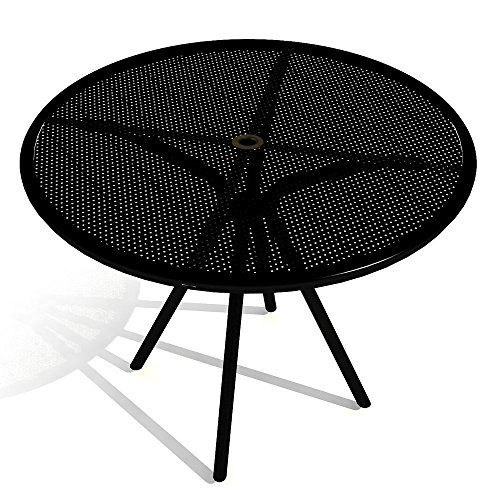 American Tables & Seating AB36 Outdoor Round Table, Fine Mesh Top, Umbrella Hole, 36