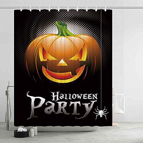 YOLIYANA Halloween Printing Eco Friendly Shower Curtain,Halloween Party Theme Scary Pumpkin on Abstract Modern Backdrop Spider Decorative for Girls Boys,74.8