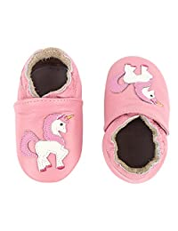 KOSHINE Baby Moccasin Girl Unicorn Soft Leather Toddler First Walker Shoes 0 6 12 18 24Months