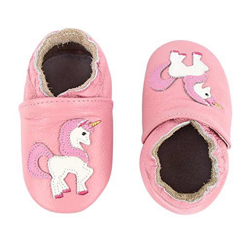 Unicorn Baby Moccasins Girls Pony Soft Sole Leather Crib Infant Toddler First Walker Shoes (5.5~6 M US Toddler (5.1in/ 6-12Mo.), Pink Unicorn)