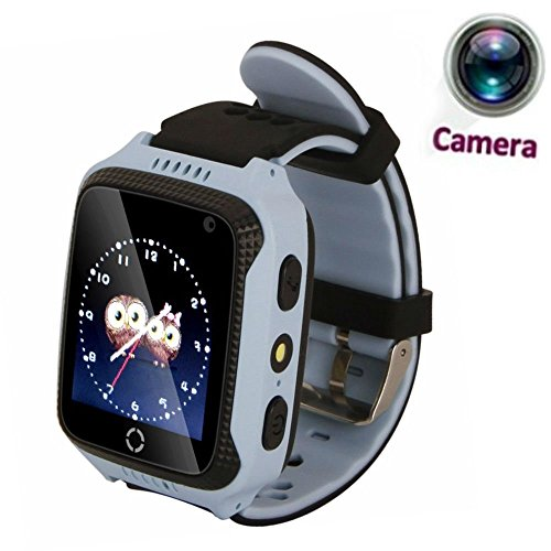 JUNEO 1.44 inch GPS Tracker Smart Watch, Touch Screen Watch Kids with High Pixel Camera SIM Calls Anti-Lost Safety Monitor Flashlight SOS Wrist Watch Smart Bracelet (Blue)
