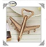 Youkwer 12PCS Skeleton Airplane Bottle Opener with Exquisite Packaging for Wedding Party Favors & Decorations ''Let the Adventure Begin'' (Dark Gold)